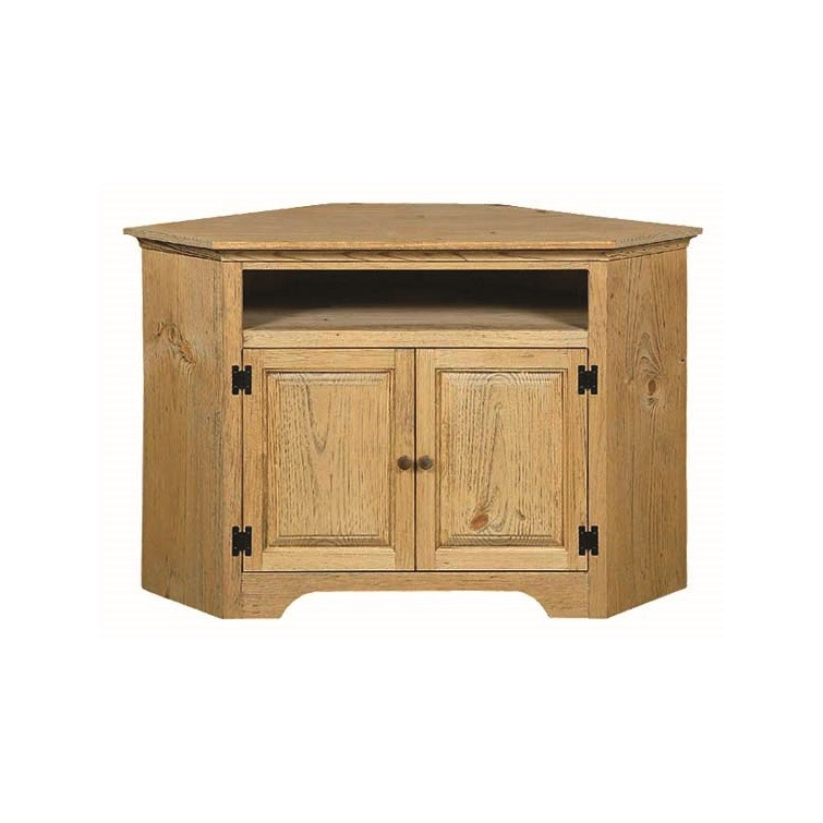 Pine Small Corner Tv Stand With Opening Amish Pine Small