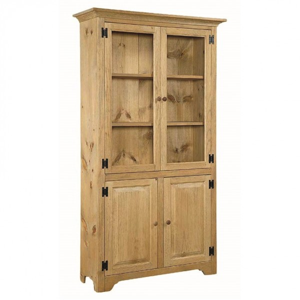 Pine 6' Bookcase With Glass Doors
