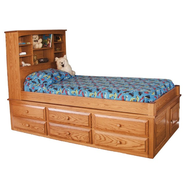 Twin storage bed with headboard - Captain S Bed With 6 Drawers Amish Made Captains Bed