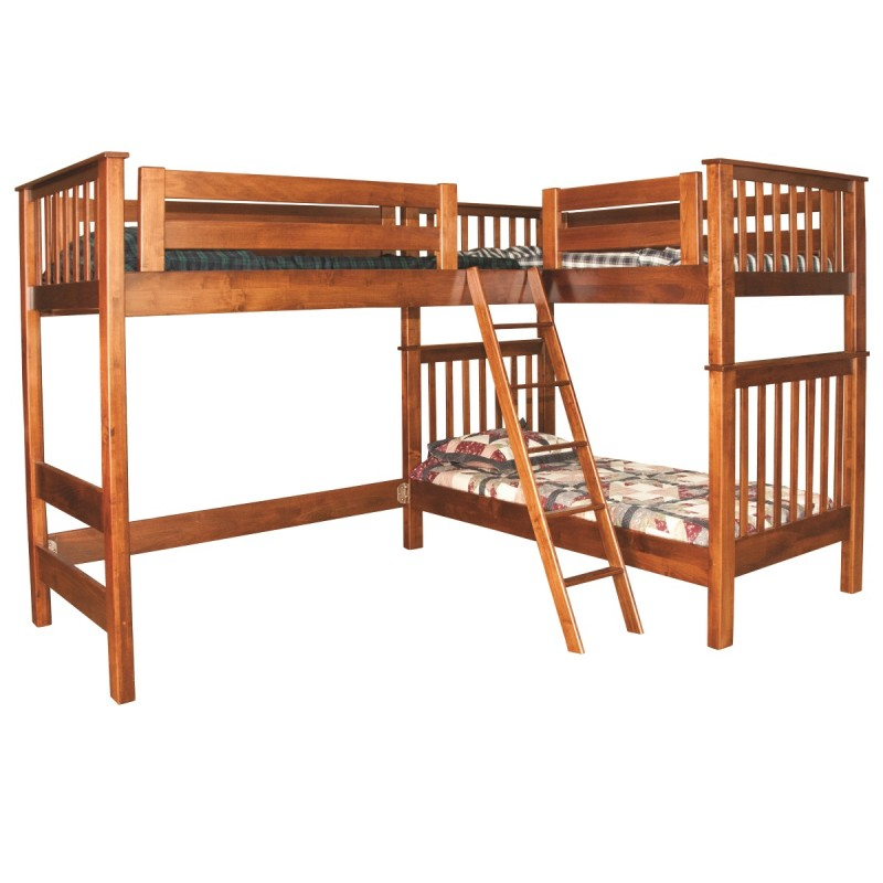 L Shaped Loft Bunk Bed Amish Handcrafted Country Lane