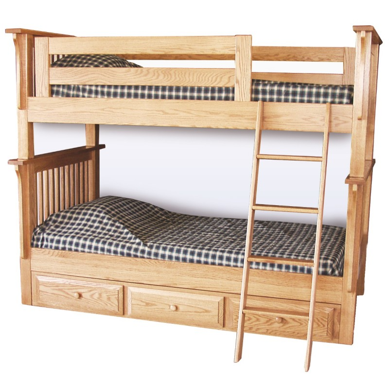 Mission Twin Over Twin Bunk Bed | Solid Wood Bunk Bed ...