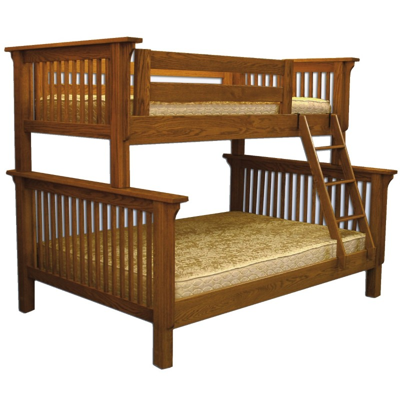 Mission Twin Over Full Bunk Bed Amish Made Bunk Bed