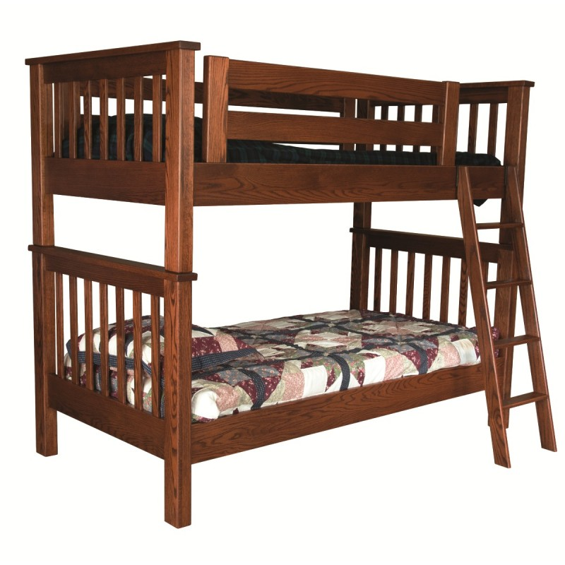 Mission twin over twin bunk bed solid wood bunk bed for Wooden bunkbeds
