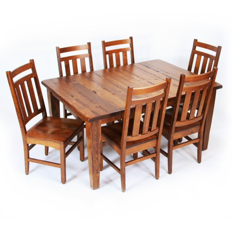 Shaker large leg dining set qswo dining set amish for Large dining room sets