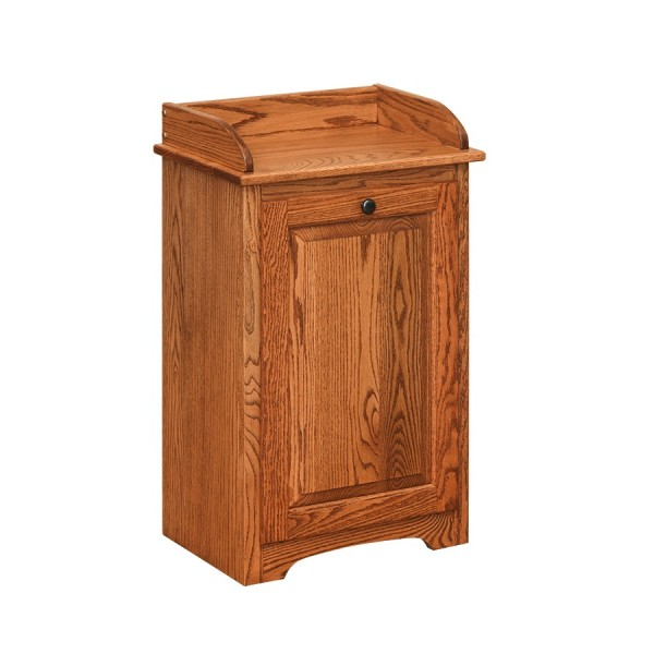 Country Kitchen Wood Trash Bin Red