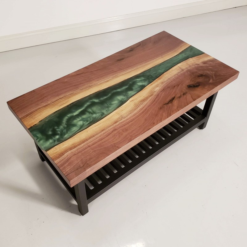 Walnut & Epoxy River Coffee Table | Amish Live Edge Coffee ...