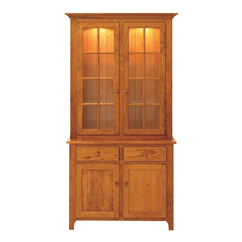 Shaker 2 Door Hutch Handcrafted China Hutch Solid Wood