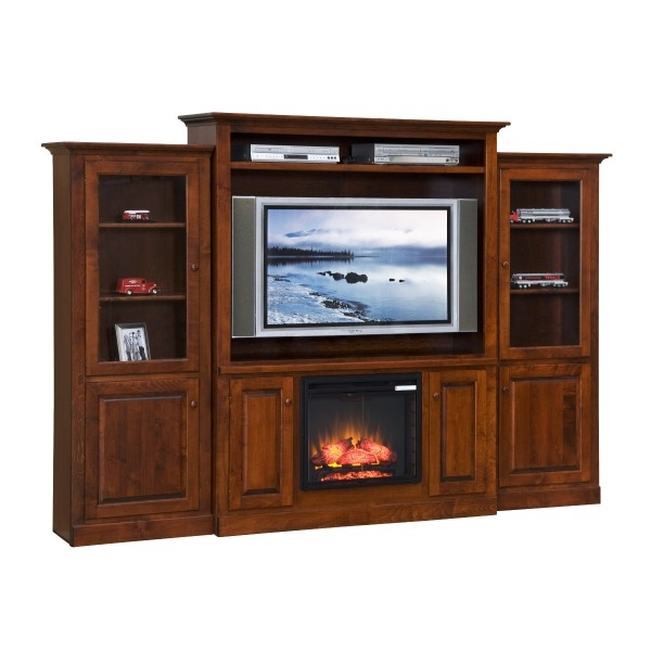 entertainment center w fireplace side towers country lane furniture. Black Bedroom Furniture Sets. Home Design Ideas