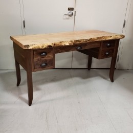 Walnut & Maple Live Edge Desk