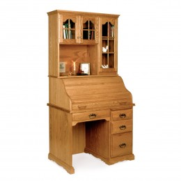 "Small 40"" Roll Top Desk & Hutch"