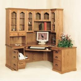Traditional Corner Desk & Hutch