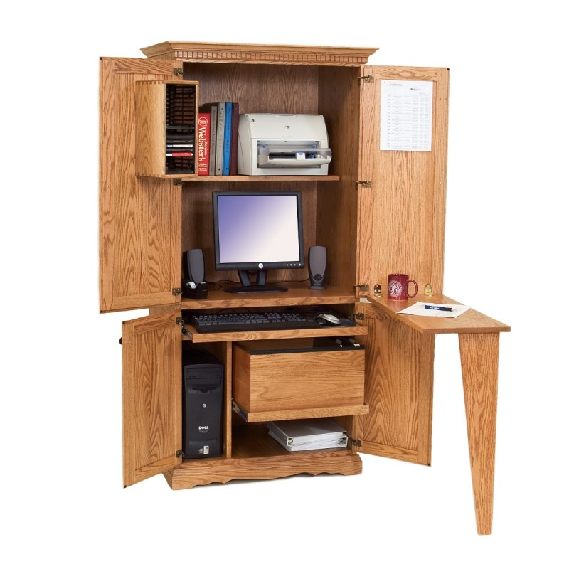 Solid Oak Computer Armoire | Amish Made Traditional ...