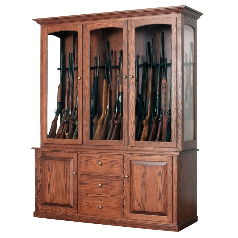 Jesse James 20 Gun Cabinet | Amish Made Large Gun Cabinet ...