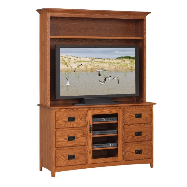 """Mission 56"""" TV Stand & Hutch"""
