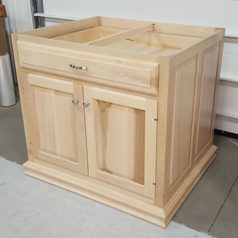 Unfinished Kitchen Island Cabinets: Custom Maple Kitchen Island Base Cabinet