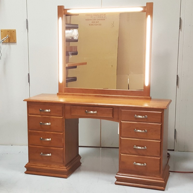 Custom Cherry Dressing Table With Lights Wood