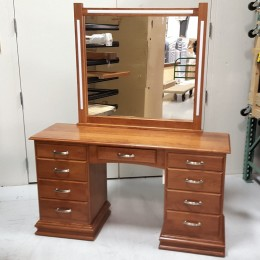 Custom Cherry Dressing Table with Lights