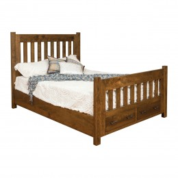 Timber Bed With Storage Footboard