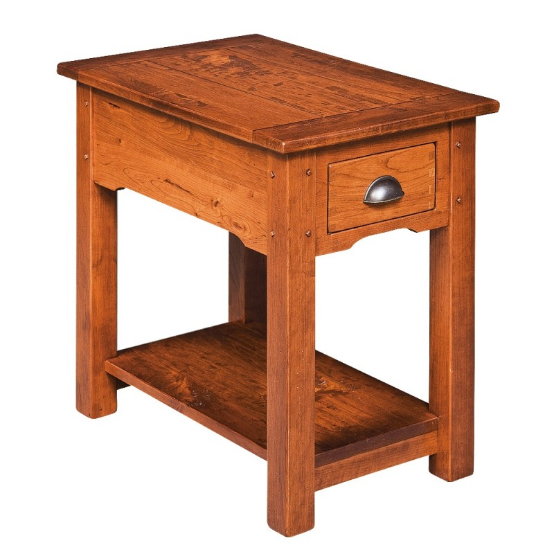 country lodge chairside table rustic cherry end table