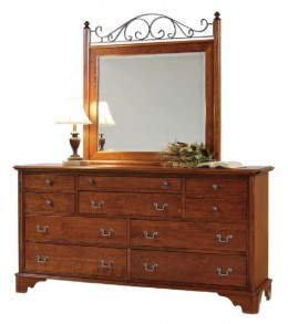 Cambridge Triple Dresser and Landscape Iron Mirror