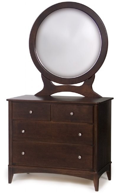 Metro Single Dresser And Round Mirror Amish Handcrafted