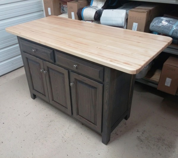 Custom Oak Island With Butcher Block Top