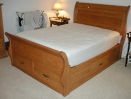 Custom Oak Sleigh Platform Bed