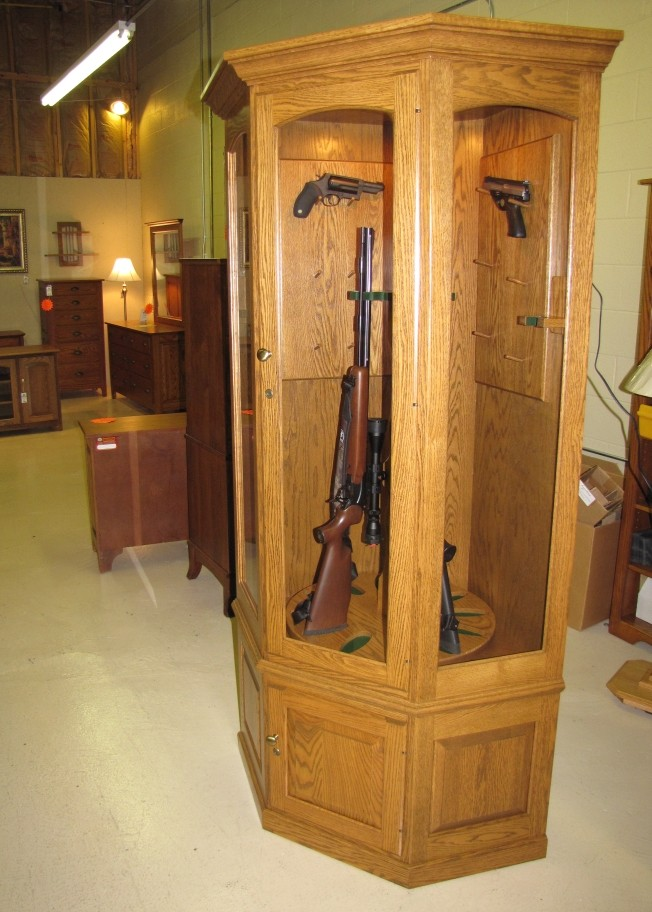 Gun Security Cabinet >> Custom Oak Corner Gun Cabinets - Country Lane Furniture ...