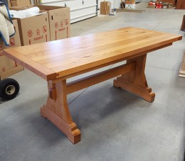 Custom Rustic Oak Trestle Table