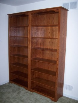 Custom Oak Bookcase Wall Unit