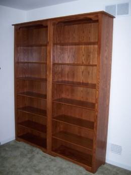 Custom Oak Bookcase Wall Unit