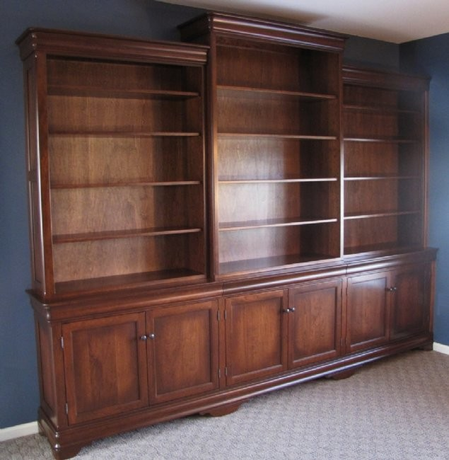 custom cherry bookcase wall unit