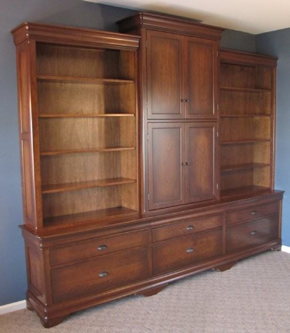 Custom Cherry File Cabinet Wall Unit